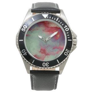 Art orageux coloré de course de brosse d'abrégé montres bracelet