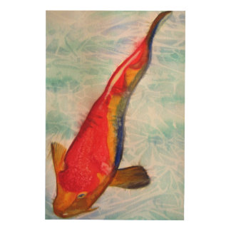 Art original d'aquarelle de poissons de Kohaku Koi