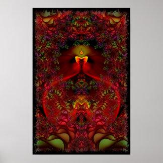 Art psychédélique abstrait de fractale du pays des poster
