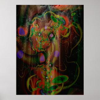 Art psychédélique d'arbre puissant de champignon poster