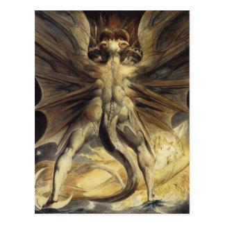 Art rouge William Blake de dragon Carte Postale
