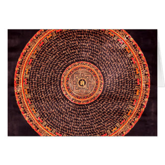 Art tibétain de mandala (noir, or, rouge, jaune) carte