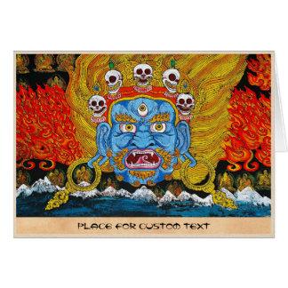 Art tibétain oriental frais de tatouage d'un dieu carte