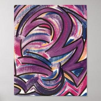 Art Traçage-Moderne rose, bleu, pourpre, jaune