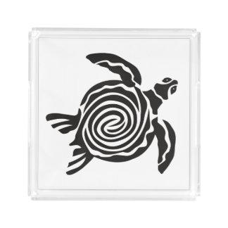 Art tribal noir et blanc de tortue plateau en acrylique