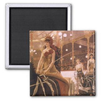 Art vintage, dames des voitures (cirque) par magnet carré