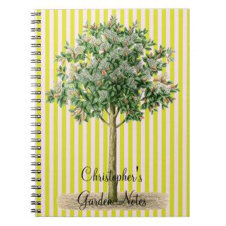 Art vintage d'arbre du carnet du jardinier nommé