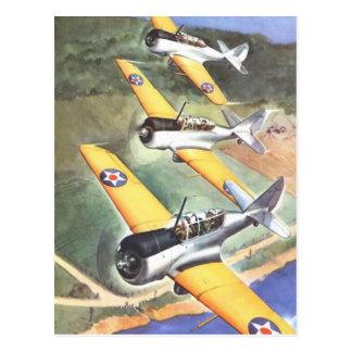 Art vintage de couleur d'avion d'aviation carte postale