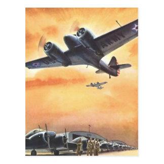 Art vintage de couleur d'avion d'aviation cartes postales