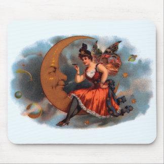 Art vintage d'étiquette de cigare, fée victorienne tapis de souris