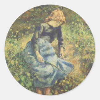 Art vintage d'impressionisme, bergère par Pissarro Sticker Rond