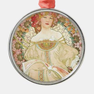 Art vintage Nouveau, Champenois par Alphonse Mucha Ornement Rond Argenté