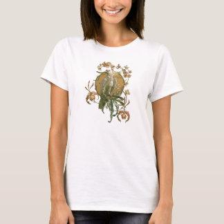 Art vintage Nouveau, oiseau de cacatoès, fleurs T-shirt