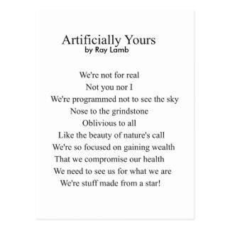 Artificiellement vôtre, un poème par l'AGNEAU de Carte Postale