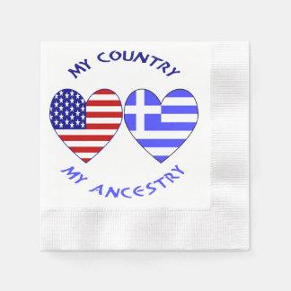 Ascendance grecque de pays de drapeau de coeur serviettes en papier
