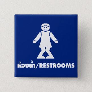⚠ asiatique thaïlandais de signe de toilette de ⚠ badge carré 5 cm