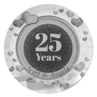 Assiette 25ème Souvenir d'anniversaire de noces d'argent 25