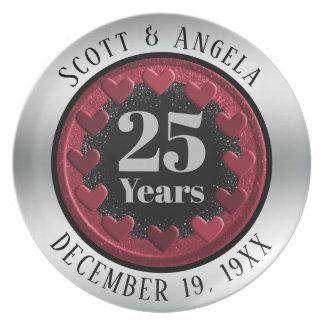Assiette 25ème souvenir moderne d'anniversaire de mariage