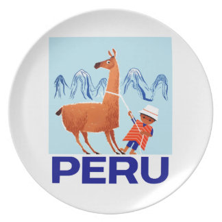 Assiette Affiche vintage de voyage du Pérou d'enfant et de