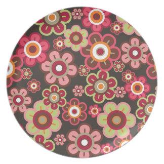 Assiette Amusement Girly de motif de sucrerie de fleurs