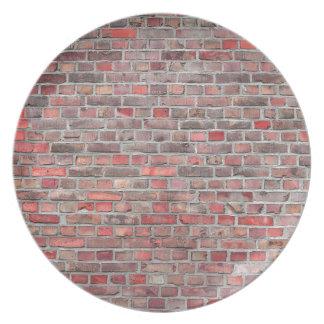 Assiette arrière - plan de mur de briques - pierre vintage