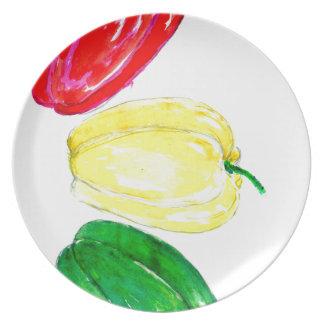 Assiette Art de trois poivrons