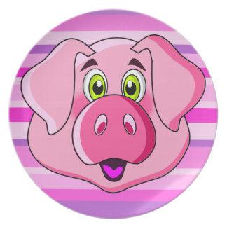 Assiette badine le visage drôle de porc