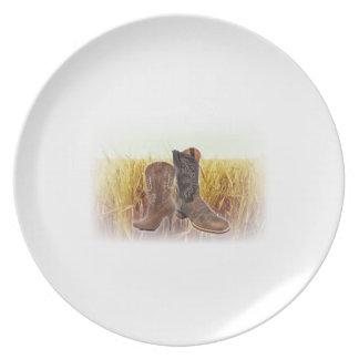 Assiette Bottes de cowboy de pays occidental de champ de