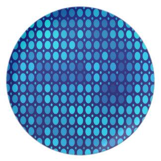 Assiette Cercles abstraits de bleu de motif
