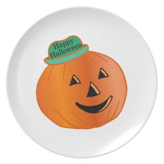 Assiette Citrouille heureux de Halloween avec le casquette