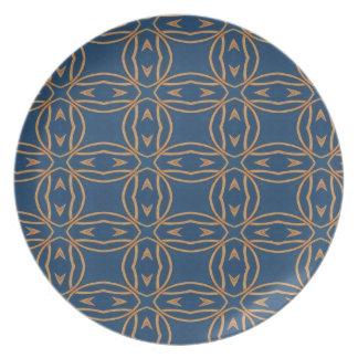 Assiette Conception bleue de papier peint de motif d'abrégé