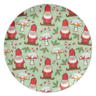 Assiette Conception de gnomes de Père Noël de Noël