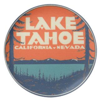 Assiette Conception vintage de décalque de voyage du lac