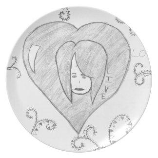 Assiette Dessin vivant d'amour de paix d'anges