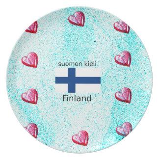 Assiette Drapeau de la Finlande et conception finlandaise