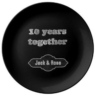 Assiette En Porcelaine 10ème Souvenir | d'anniversaire 10 ans ensemble