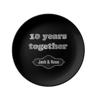 Assiette En Porcelaine 10ème Souvenir | d'anniversaire de mariage 10 ans