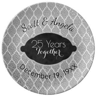 Assiette En Porcelaine 25ème Souvenir d'anniversaire de noces d'argent 25