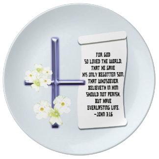 Assiette En Porcelaine 3h16 croisé de John de fleur