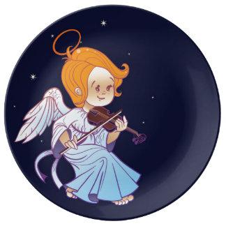 Assiette En Porcelaine Ange mignon de bébé de Noël jouant le violon