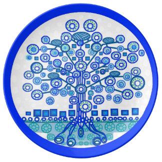 Assiette En Porcelaine Arbre bleu de plat de la vie