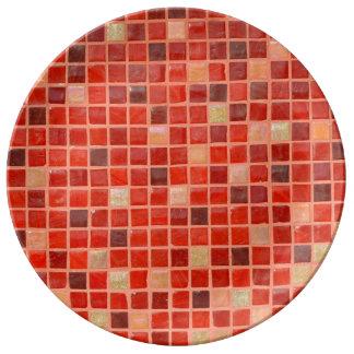 Assiette En Porcelaine Arrière - plan rouge de tuile de mosaïque