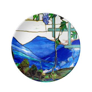 Assiette En Porcelaine Art de fenêtre en verre teinté de paysage de