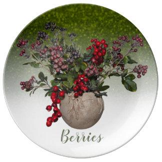 Assiette En Porcelaine Baies et parties scintillantes de vert