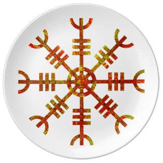 Assiette En Porcelaine Barre de symbole de Viking de crainte