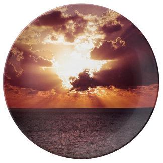 Assiette En Porcelaine Beau paysage de coucher du soleil