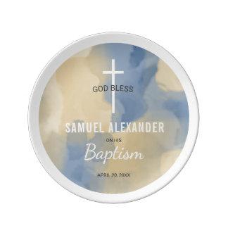 Assiette En Porcelaine Bleu de baptême et souvenir d'aquarelle d'or
