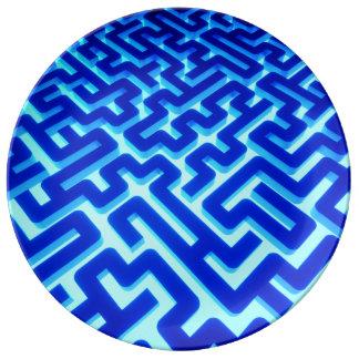 Assiette En Porcelaine Bleu de labyrinthe