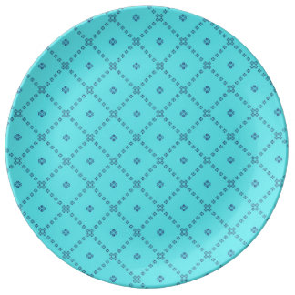 Assiette En Porcelaine Bleu graphique de conception de tuile