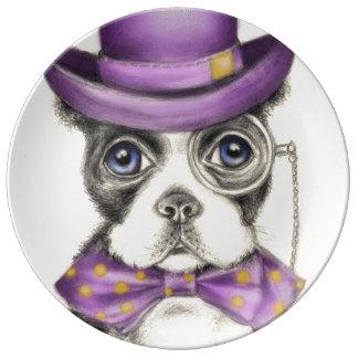 Assiette En Porcelaine Boston pourpre Terrier